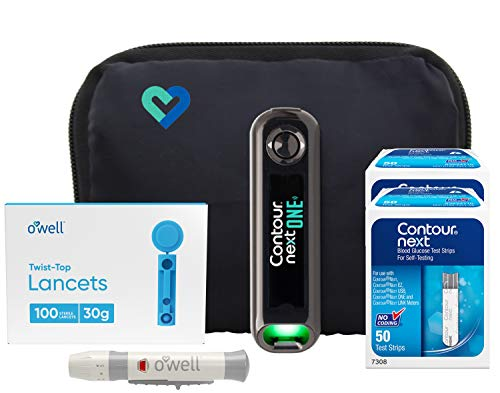 Contour Next ONE Blood Glucose Kit | Contour Next ONE Bluetooth Meter, 100 Contour Next Blood Glucose Test Strips, 100 O'WELL Lancets, O'WELL Lancing Device, LogBook, User Manual & Carry Case