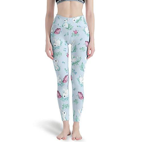 LPLoveYogaShop Leggings de mujer coloridos con diseño de huevos de Pascua y gráficos festivos, elásticos, para yoga, polainas capri para estancamiento White7 L