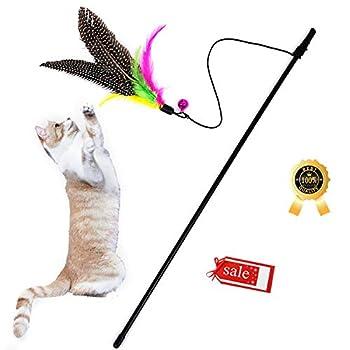 Jouet pour Chat Canne a Peche, Bâton de Chat drôle et interactif avec des Plumes,Jouets pour Chat interactif, interactif Chaton Chat Baguette Jouet Chat Chasse Canne à pêche avec Cloche.