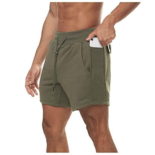 Xjp Herren Shorts Fitness Laufshorts Sport Workout Shorts Sport Athletic Gym Shorts mit Taschen(Grün,L)