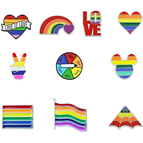 KNMY Regenbogen Flagge Broschen, Regenbogen Pin, Regenbogen Emaille Pins Anstecknadeln, Pin Brosche Set für täglichen Gebrauch, Abschlussball, Abschlussfeier, Jubiläum, Geburtstag etc, 10 Stück