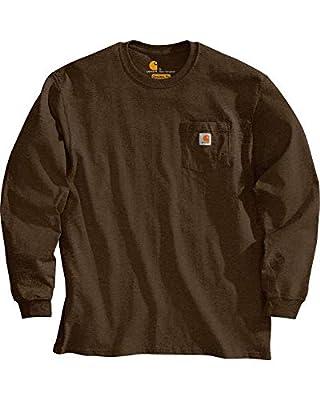 Carhartt Men's K126 Workwear Jersey Pocket Long-Sleeve Shirt (Regular and Big & Tall Sizes), Dark Brown, Large