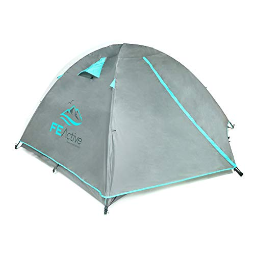 FE Active 4 Person Tent - Four Season 3-4 Man with 3000mm Waterproof Rip-Stop, Full Rainfly, Aluminum Poles Adult Tent for All Year Camping, Backpacking, Hiking, Travel | Designed in California, USA