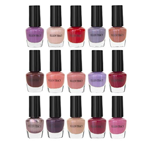 Ellen Tracy 15 Pack Nail Polish Collection, Fingernail Polish for Women and Girls, 15 Mini Nail Polish Colors, Glossy and Glitter Quick to Dry Nail Polish