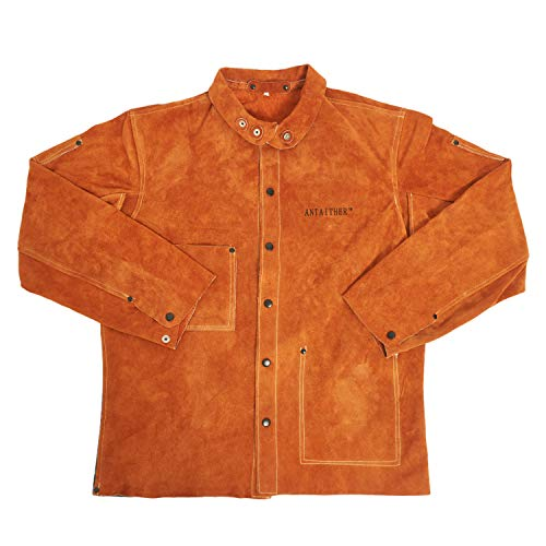 ANTAITHER Split Cowhide Leather Jacket For Men & Women | Heat & Flame Resistant Heavy Work Welding (M)