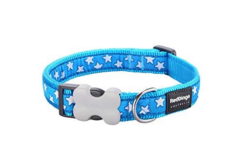 Red Dingo GmbH 9330725045798 Collar Perro Estrella, M, Blanco y Turquesa
