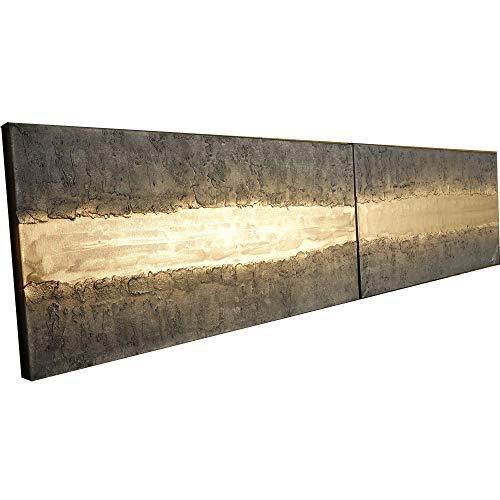 Acero y oro Abstracto A435 - díptico industrial con textura, arte original, pinturas abstractas con textura del artista Ksavera