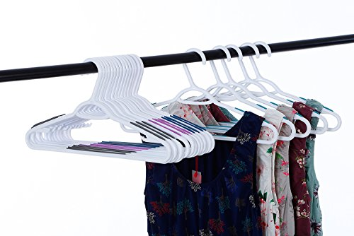AzxecVcer 30 PC Plastic Hangers with Black Non-Slip Pads Clothes/Suit Hangers,Perfect for Dresses, Blouses and Pants, Shirts, Ties, Scarves and Sweaters,30 Pack