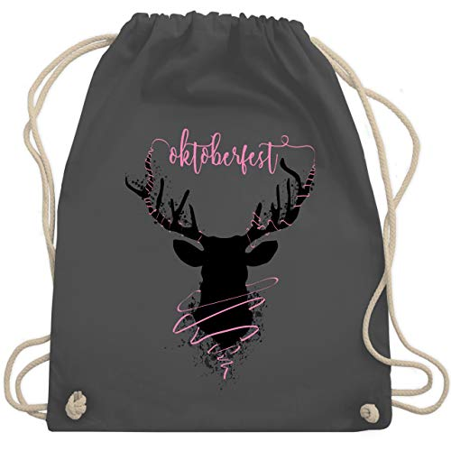 Shirtracer Oktoberfest Kind - Hirsch Oktoberfest - Unisize - Dunkelgrau - rucksack hirsch - WM110 - Turnbeutel und Stoffbeutel aus Baumwolle