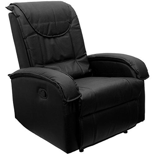 STILISTA TV Relaxsessel aus Echtleder, mit ausklappbarer Fußstütze, Bequeme Polsterung, Farbe schwarz, schadstoffgeprüft