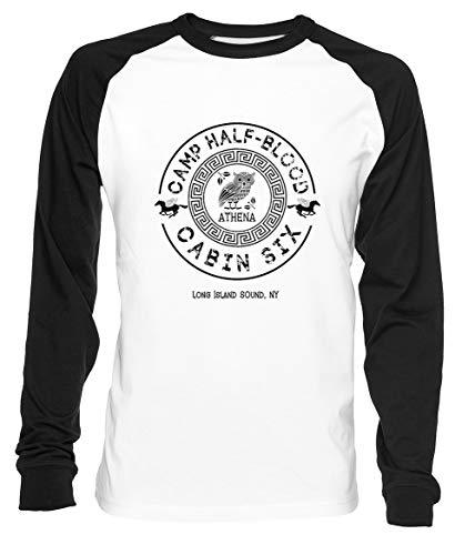 Cabin Six - Athena - Percy Jackson - Camp Half-Blood - Uomo Donna Unisex Maglietta da Baseball Bianca Nera Women's Men's T-Shirt