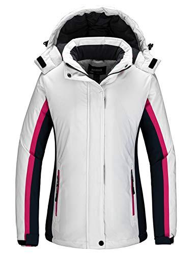 Skieer Women's Waterproof Ski Jacket Mountaineering Insulated Raincoat White S