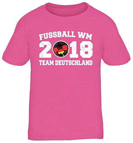 Germany Fußball WM Fanfest Gruppen Kinder T-Shirt Rundhals Mädchen Jungen Team Deutschland, Größe: 110/116,pink