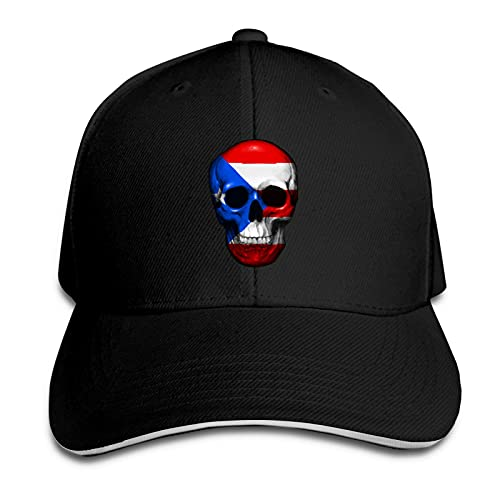 XCNGG Bandera de Puerto Rico, Calavera, Unisex, Adultos, Gorra de Vaquero, Sombrero sándwich