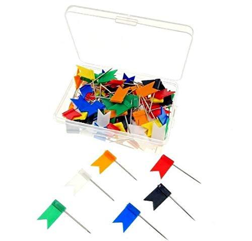 JZK 100 Bandierine puntine bacheca colorate con scatola puntine per sughero puntine da disegno spilli bacheca