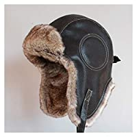 DHDHWL ロシアの帽子 冬の帽子の男性の女性の爆乳帽子革の雪の雪の雪の帽子 防寒 (Color : Black, Hat Size : XL 60 62 cm)