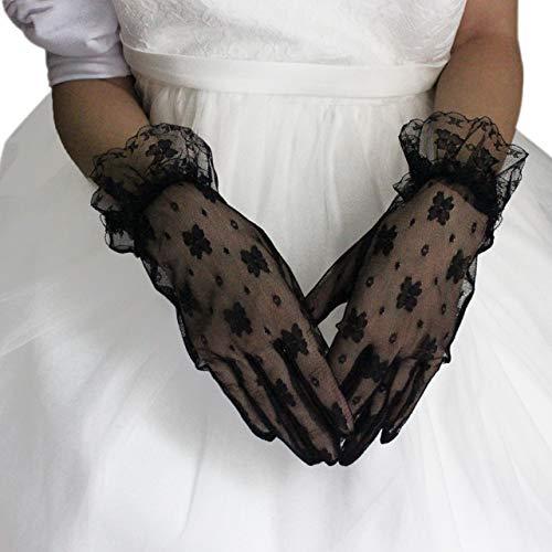 CHIC DIARY Handschuh Spitze Damen Brauthandschuh Schwarz Netzhandschuhe Kurz Spitzenhandschuhe Hochzeit Abendkleid Party