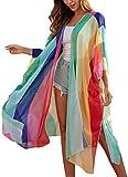 Hibluco Women's Summer Chiffon Floral Kimono Cardigan Long Swimwear Cover Ups