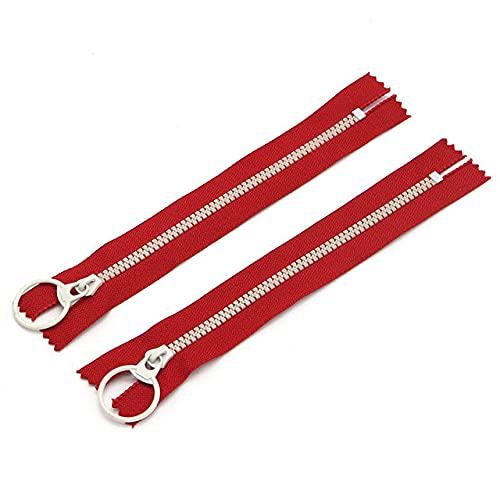 Artesanías 2 piezas 15/20/30 cm Cremalleras de resina de extremo cerrado Anillo de tracción Cabeza de cremallera DIY Costura Bolsa de trabajo a mano Accesorio para ropa J0309-C1 Rojo, 30 cm