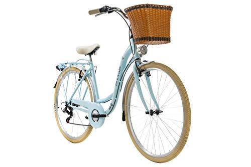 KS Cycling Damenfahrrad Cityrad 28'' Casino blau 6Gänge RH48cm mit Korb