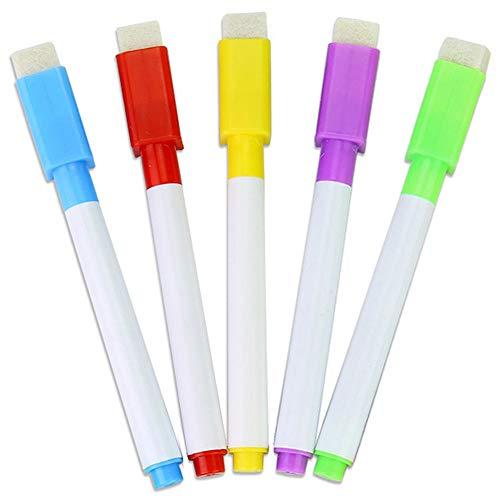 De pizarra pluma blanco seco rotuladores, construido en el borrador de lápices de dibujo para niños 5pcs color aleatorio