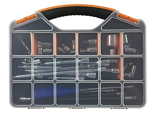 Hardware & Tool Storage Box with 18 Compartments. Excellent for Screws, Nails, Bolts, Sewing, Fishing & Tackle. Slim, Sturdy & Durable Design
