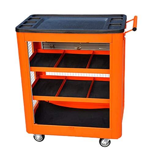 Susulv Werkzeugwagen Mobile Push-Parts Wagen Car Trolley Multifunktions verdicken Auto-Reparatur-Werkzeug-Regal Schicht Werkstatt Auto-Reparatur (Farbe : Orange, Größe : 64x39x80cm)