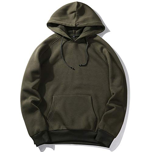 Men's Pullover Hoodie Sweatshirt Loose Print Sweater Long Sleeve Hoodie ArmyGreen