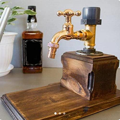 Komopesu Juego de Barware de Latón Antiguo Dispensador de Madera de Whisky con Forma de Grifo Fuente de Alcohol para Fiestas Decantador de Cóctel Sostenedor de Bebidas del Barman para