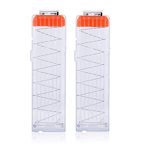 T-best 2PCS Soft Bullet Clip Darts,6/12/18 Dart Quick Reload Refill Clip Cartridge Magazine Replacement Nerf Gun N-Strike Elite Blasters (18 Dart Transparent)