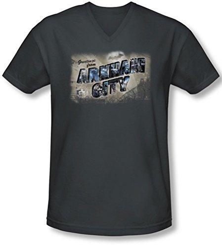Arkham ciudad de Arkham Asylum de felicitación–para hombre V-Neck T-Shirt Negro gris oscuro 2XL