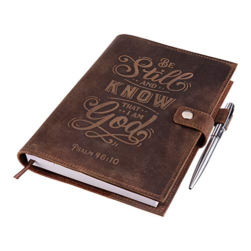 Genuine Leather Journal Notebook - Psalm 46v10 Embossed Inscription – Handcrafted Buffalo Leather Refillable Journal with Premium-Milled Lined Paper – Includes Silver Luxury Pen & Lined Journal Refill