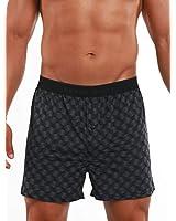 Perry Ellis Men's Luxe Button Fly Boxer Short, Square - Black, X-Large