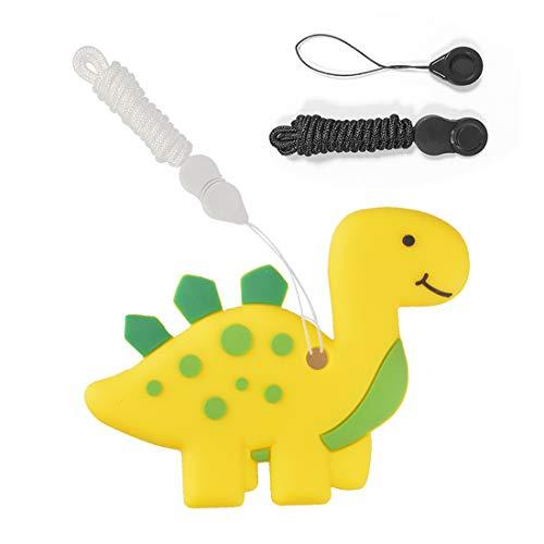 Mordedor de Silicona en Forma de Dinosaurio para Bebés, Juguetes Masticables Sensoriales para Autistas, Sin BPA, Alivia el Dolor de Dientes y Encías del Bebé, Estimula la Dentición