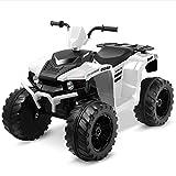 Kidzone 12V Electric Kids Ride-On Car ATV with DIY License Plate, 4 Big Wear Resistant Tires, MP3, 2 Speeds, LED Lights, Bluetooth, Radio, White