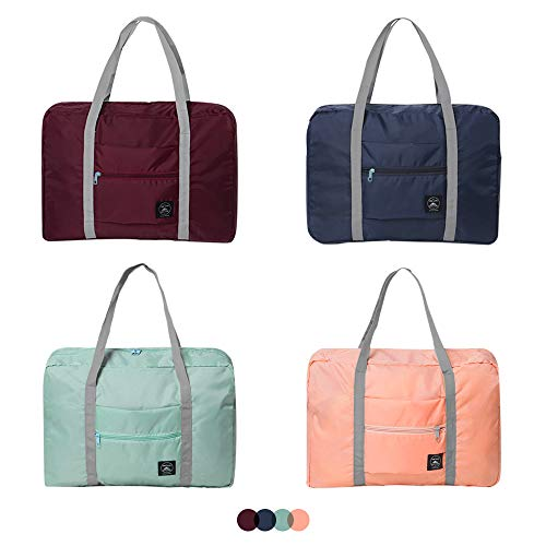 SITAKE 4 Pcs Foldable Travel Duffel Bag, Waterproof Lightweight Carry-on Bags, Suitable for Overnight, Holiday, Shopping, Weekends, Outing, Gym(Wine Red/Navy Blue/Sky Blue/Light Pink)