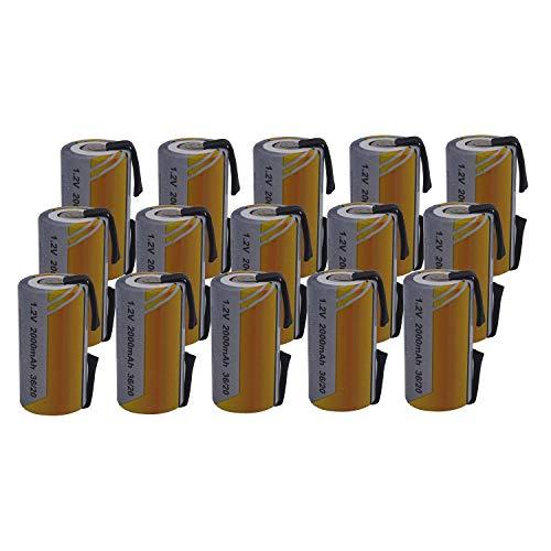 15 X Batteria Pila SC 2000mAh 2.0Ah Ni-Cd 1,2V con lamelle a saldare per pacchi batterie trapani torce allarmi