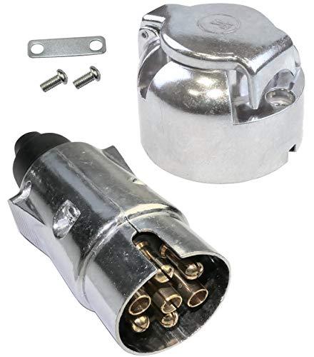 AERZETIX - Conector Enchufe Remolque Macho/Hembra - 7 Pines - 12V - Metal - para camión Coche - Plata - C47201