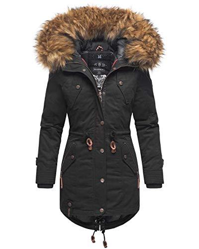 Marikoo warme Damen Winter Jacke Winterjacke Parka Mantel Kunstfell Kapuze B813 [B813-Lav-Pri-Schwarz-Gr.M]