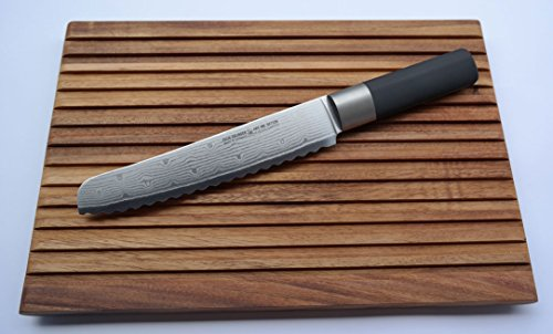 Felix Solingen Damastmesser Absolute ML - Brotmesser 20cm Klinge mit Wellenschliff und Schneidbrett Akazie