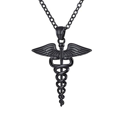 U7 Símbolo Médico Caduceo Colgante Collar Regalos para médico y Enfermera Material Acero Inoxidable Tono Negro Oscuro Collares Modernos para cumpleaños