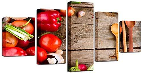 NC56 Cuadro artístico Impreso en Lienzo HD para decoración de Pared de Sala de Estar 5 Piezas Fruta Tomate Rojo Comida 40x60 40x80 40x100cm sin Marco