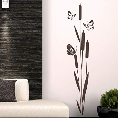 Wandtattoo Schilf Pflanze mit Schmetterlinge inkl. Rakel (jap03 braun) 150 x 30 cm mit Farb- u. Größenauswahl