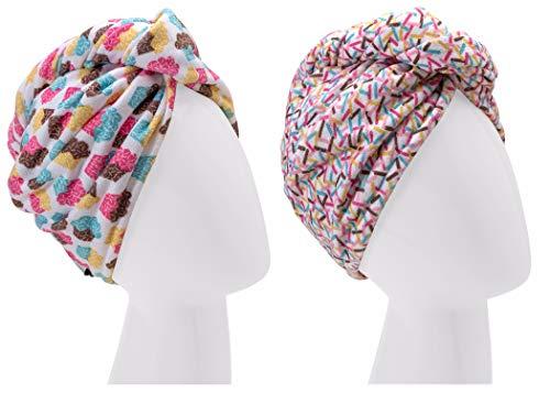 Turbie Twist Super Absorbent Microfiber Hair Towel Wrap - Hands Free Hair Drying Towel - 2 Pack (Cupcakes, Sprinkles)