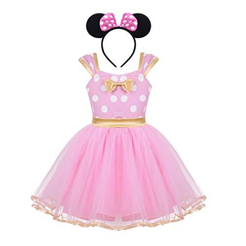 Agoky Baby Mädchen Kostüm mit Haarreif Prinzessin Kleid Maus Ohren Polka Dots Verkleidung Outfits Party Festzug Weinachten Karneval Fasching Geburtstag Rosa 98-104