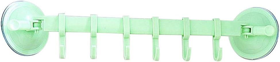 DOITOOL Lock Nail Free Hangers Zes Haken Rij Gesloten Zuignap Multifunctionele Verstelbare Muur Haken (Groen)