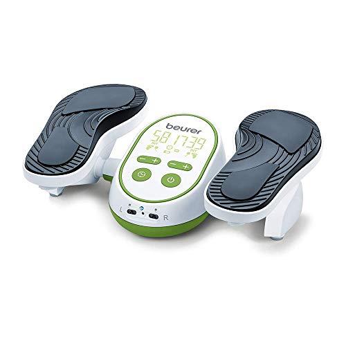 Beurer FM250 Aparato de masaje ems para pies y piernas, promueve la circulación y relaja la tensión muscular, 6 electrodos, 2 canales, temporizador, color blanco verde
