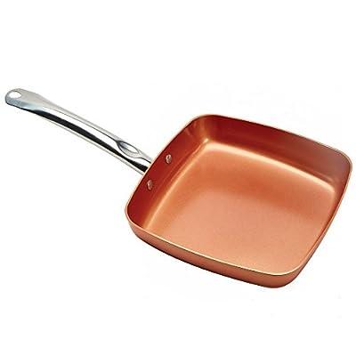 """Copper Non-Stick 9.5"""" Square Fry Pan with Spatula"""