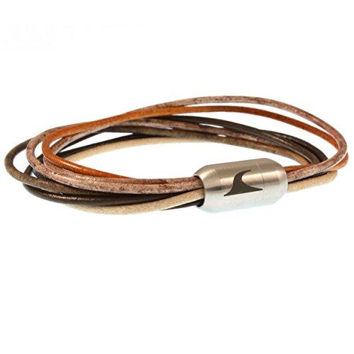 WAVEPIRATE® Echt Leder-Armband XX-FEM Beach 18 cm Edelstahl-Verschluss in Geschenk-Box Surfer Damen