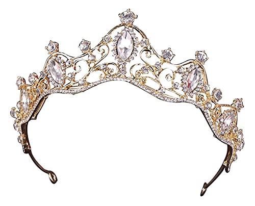 LTGJJ Accesorios for el Cabello Nupcial Tiara de Corona Elegante,Princesa Headwear Bling Rhinestone Fiesta de Boda Bridal Tiara Crown Hoop for niñas y Mujeres Dorado (Color : Golden)